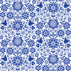 Floral seamless folk art vector pattern, Scandinavian navy blue repetitive design, Nordic ornament with flowers