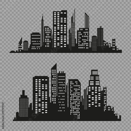 Fototapety, obrazy: Vector city silhouette in a flat style. Modern urban landscape.vector illustration