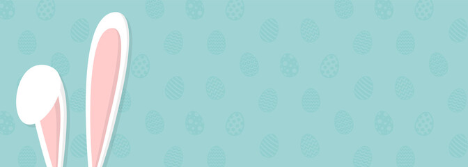 Background with eggs and white bunny. Concept of Easter banner. Vector.