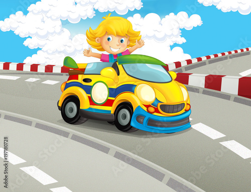 Fotobehang Boerderij cartoon funny and happy looking child - girl in racing car on race track - illustration for children