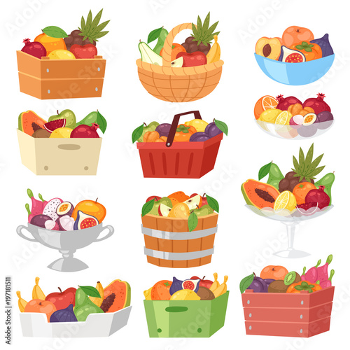 Fototapeta Fruit basket vector fruity apple banana and exotic papaya in box illustration fr