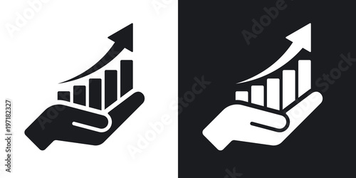 Obraz Vector growing graph icon on the hand. Two-tone version on black and white background - fototapety do salonu