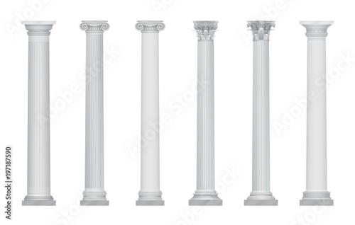 Fotografie, Obraz Realistic vector ancient greek rome column capitals set.