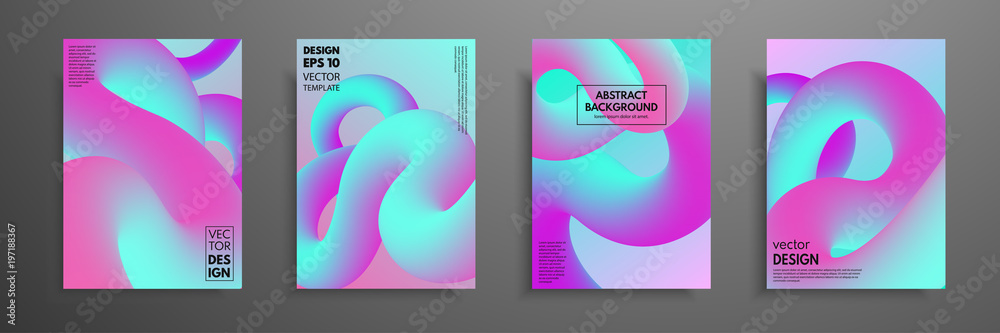 Valokuva Abstract blending liquid color shapes cover design