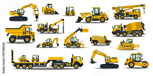 A large set of construction equipment in yellow. Special machines for the building work. Forklifts, cranes, excavators, tractors, bulldozers, trucks, cars, concrete mixer, trailer.Vector illustration