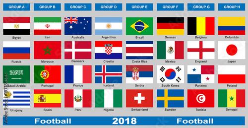 Plakat Flagi narodowych drużyn piłkarskich.