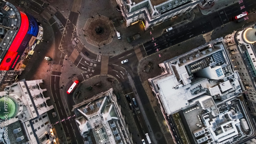 Slika na platnu Bird's Eye View Flying Over Piccadilly Circus and Aerial View of London City Str