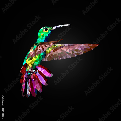 Poster Hummingbird fly, vector polygon on the black blackground