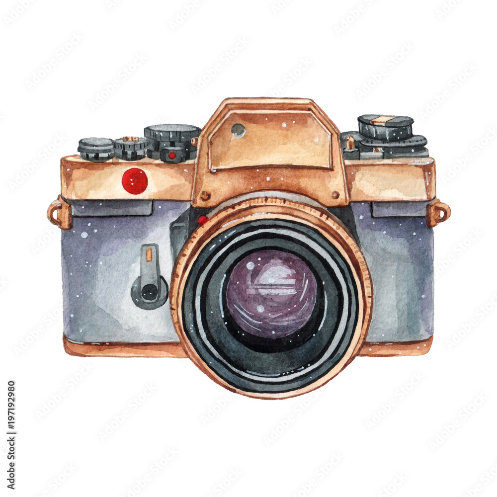 Fototapety, obrazy: Vintage retro watercolor camera. Perfect for photography logo