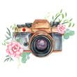 canvas print picture - Vintage retro watercolor camera. Perfect for photography logo