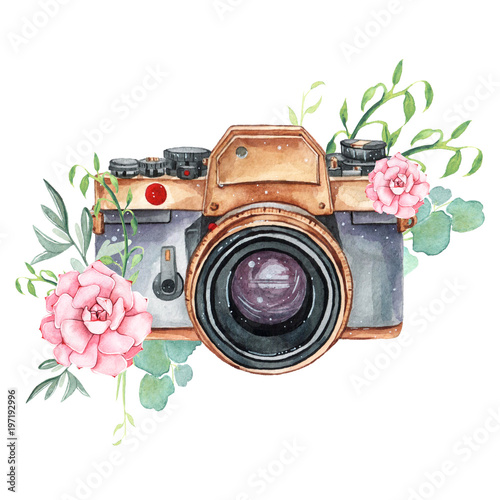 Vintage retro watercolor camera. Perfect for photography logo Wallpaper Mural