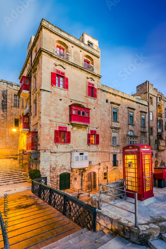 Red phone booth in Valletta,Malta Tablou Canvas