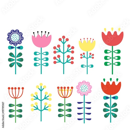Fotografering  A set of flowers in the Finnish picture of folk art-Nordic, Scandinavian style