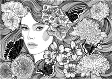 Vector Beautiful Girl With Gorgeous Hair Amidst A Blooming Garden And Waving Butterflies, Black White Illustration