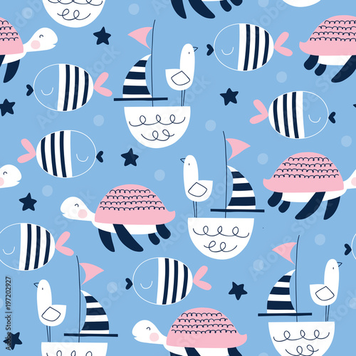 fototapeta na drzwi i meble seamless sailing ships turtle seagull pattern vector illustration