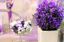 Violet Decorative Flowers And Stones. Flowers In A Vase