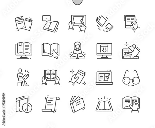 Reading Well-crafted Pixel Perfect Vector Thin Line Icons 30 2x Grid for Web Graphics and Apps. Simple Minimal Pictogram