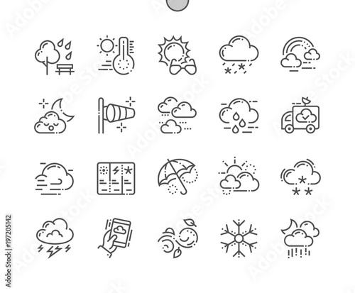 Fototapeta Weather Well-crafted Pixel Perfect Vector Thin Line Icons 30 2x Grid for Web Graphics and Apps. Simple Minimal Pictogram obraz