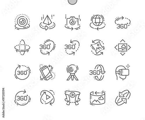 360 degrees Well-crafted Pixel Perfect Vector Thin Line Icons 30 2x Grid for Web Graphics and Apps Fototapeta