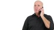Office Employee with Black Shirt Talking Business to Cellphone Smiling Pleased