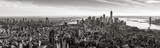 Fototapeta Nowy Jork - Aerial panoramic view of Lower Manhattan in Black and White. The view includes Financial District skyscrapers, East and West Village, the Hudson River, New York Harbor, and Brooklyn, New York City