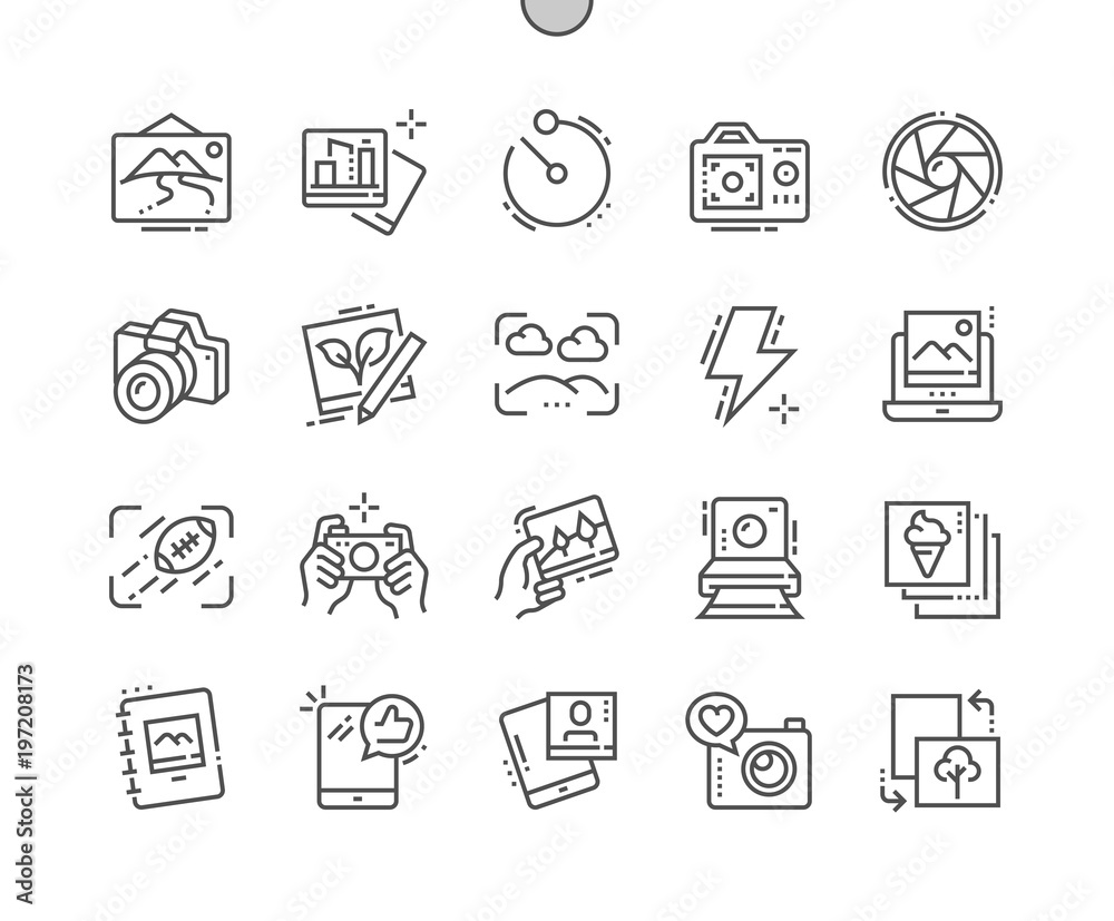 Fototapety, obrazy: Photo Well-crafted Pixel Perfect Vector Thin Line Icons 30 2x Grid for Web Graphics and Apps. Simple Minimal Pictogram