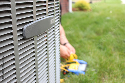 Air conditioning unit close up repair Canvas Print