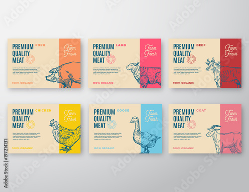 Premium Quality Meat and Poultry Labels Set Canvas-taulu