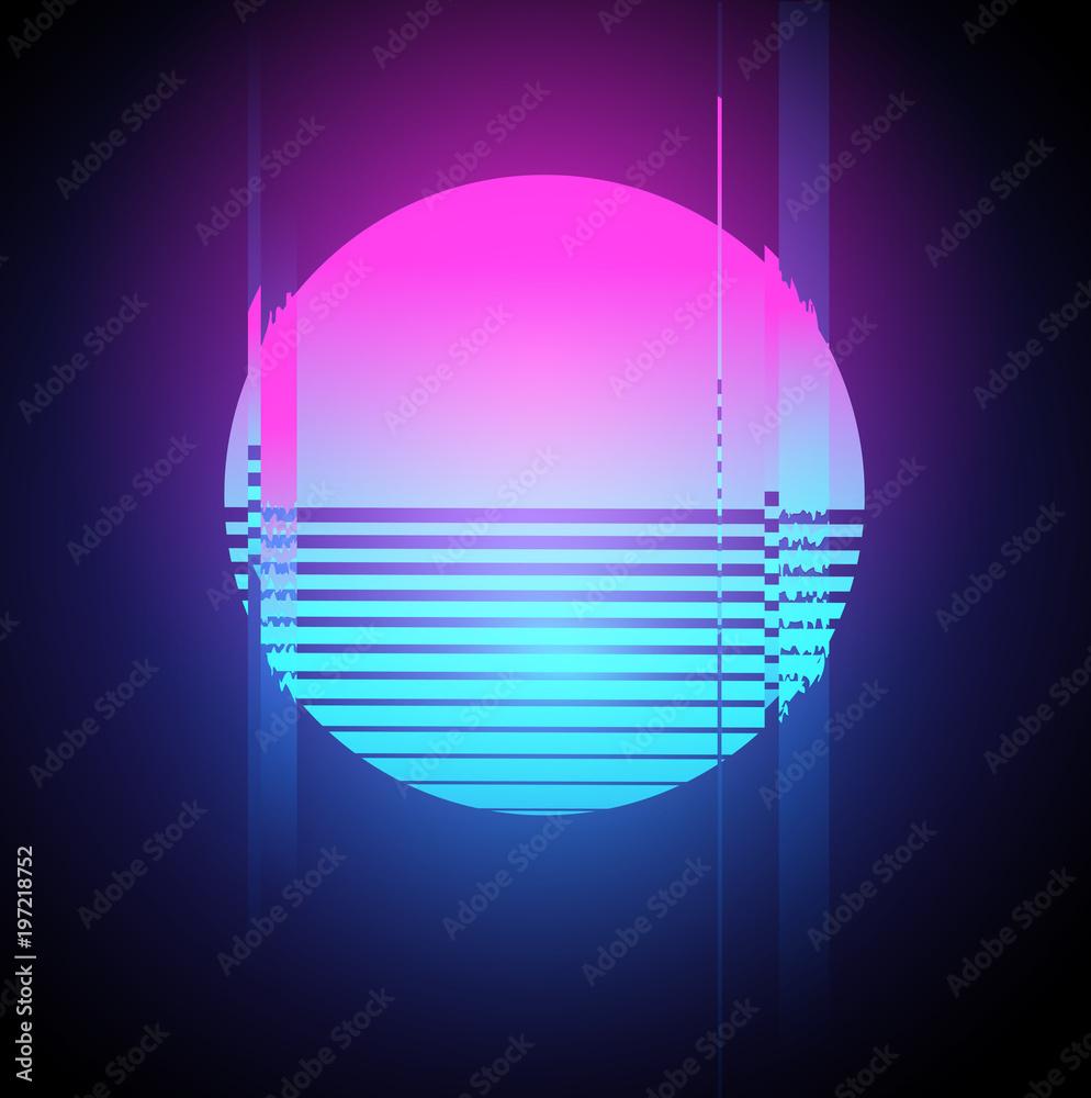 Fototapety, obrazy: Neon Sun Glitch Effect