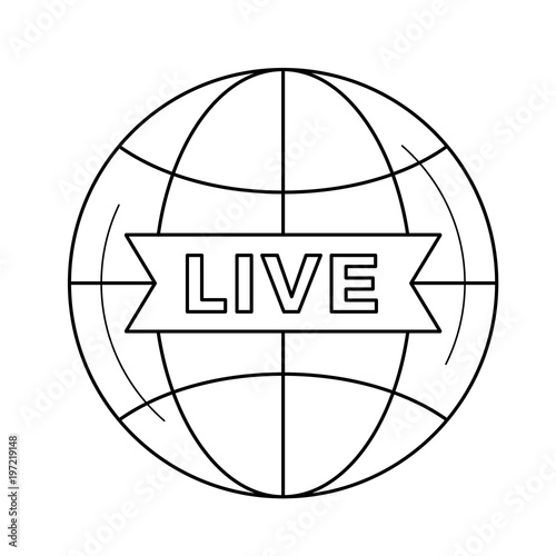 Live TV vector line icon isolated on white background  Live