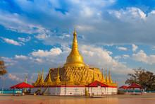 Tachileik Golden Shwedagon Pagoda On Hilltop Of Tachileik Myanmar