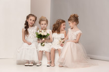 Little Pretty Girls With Flowe...