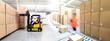 canvas print picture - Versand und Logistik im Warenlager einer Spedition - Lieferung von Paketen im Onlinehandel // transport and logistics in a warehouse