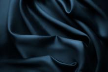 Elegant Blue Satin Silk With Waves, Texture Background