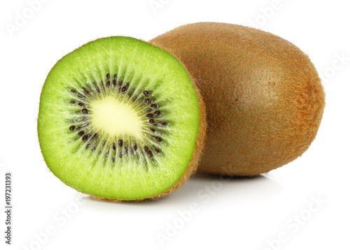 Fresh Kiwi fruit isolated on white background, including clipping path without shade.
