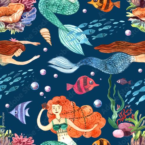 Materiał do szycia Dłoń akwarela ilustracja syrenka i ryb. Jednolity wzór.