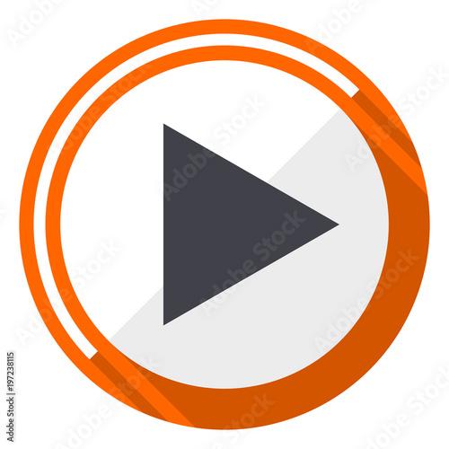 Fotografie, Obraz  Play orange flat design vector web icon