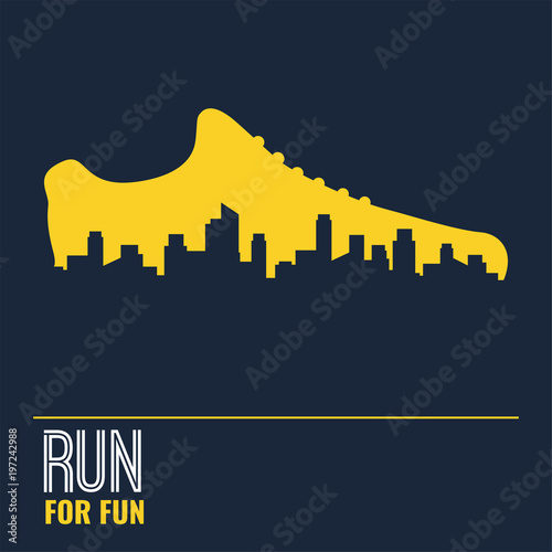 Fotografia  Vector poster - running, sport shoe and the city outline