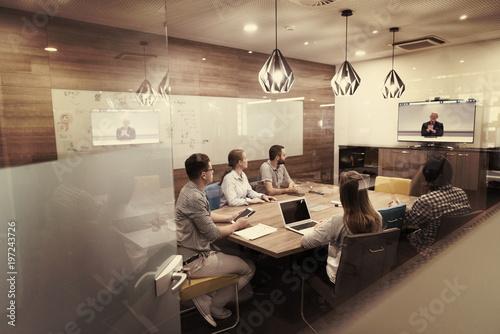 Fotografie, Obraz start up business people group attending videoconference call