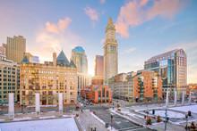 Boston Downtown Skyline At Sun...