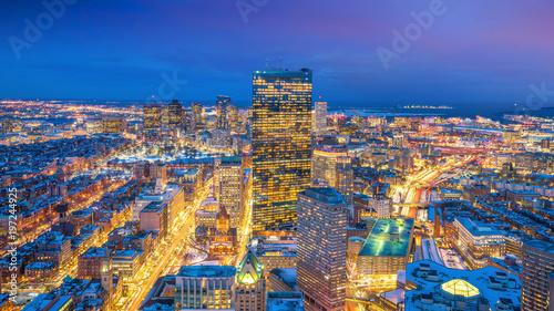 Keuken foto achterwand Verenigde Staten Aerial view of Boston in Massachusetts, USA at night