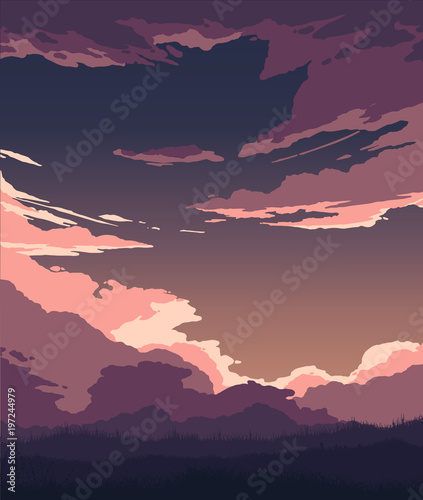 Foto auf AluDibond Aubergine lila illustration of flat colored clouds and grass