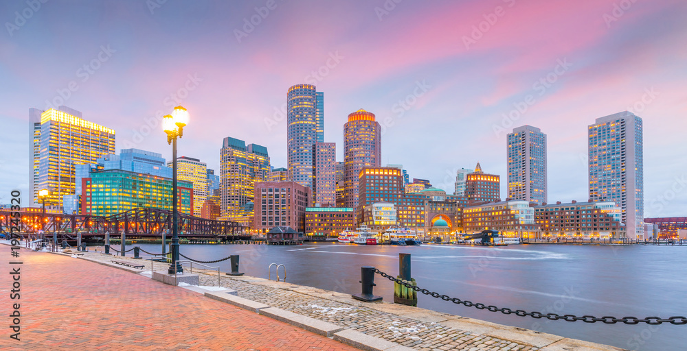 Fototapety, obrazy: Boston Harbor and Financial District at twilight