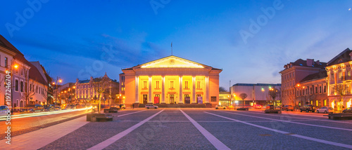 Panorama of Vilnius Town Hall at Dusk