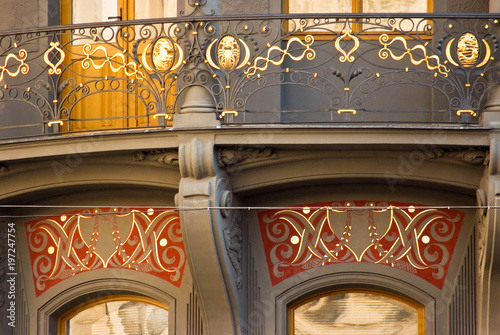 Photo  Details of dyeing of building in Prague, Czech Republic