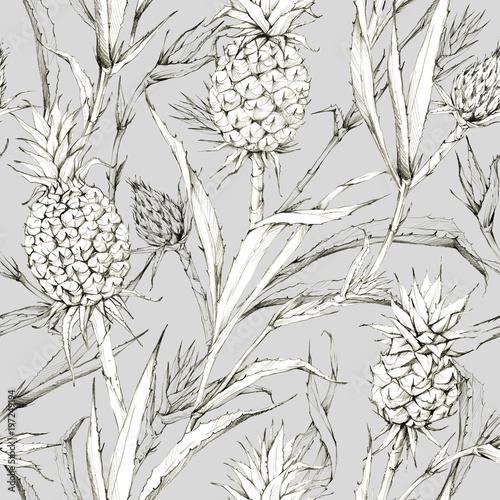 wzor-z-ananasami-i-liscmi-ilustracja-lato-tropikalne-botaniczna-konsystencja-w-odcieniach-bezu-monochromatyczny-charakter-doskonaly