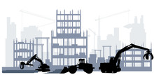 Silhouette Of A Construction S...