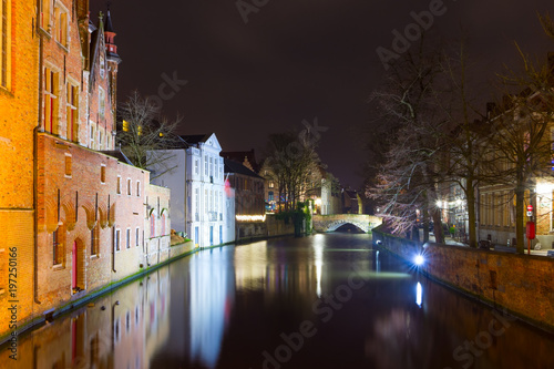 Deurstickers Brugge Night view of historic medieval centre of Bruges (Brugge), Belgium in Christmas decorations
