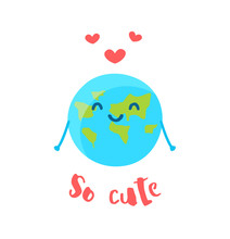 Cute Earth And Red Hearts On W...