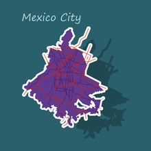 Sticker Color Map Of Mexico Ci...